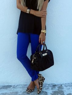 cobalt pants leopard shoes