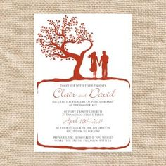 Fall in love with this romantic invitation based on a hand drawn illustration. A silhouetted couple hold hands next to the beautiful tree of love. Perfect for weddings and great for engagement invites too