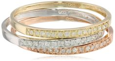 10k Tri-Colored Gold Diamond Stack Ring (1/4 cttw, J-K Color, I2-I3 Clarity), Set of 3, Size 9by Amazon Curated Collection - See more at: http://blackdiamondgemstone.com/colored-diamonds/jewelry/rings/bands/10k-tricolored-gold-diamond-stack-ring-14-cttw-jk-color-i2i3-clarity-set-of-3-size-9-com/#sthash.Ed7yy5q5.dpuf