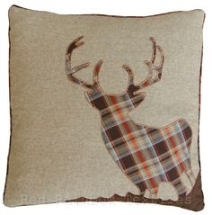 Tartan Stag 18  Brown, Orange & Latte Cushion Cover Soft Woven Tweed Fabric