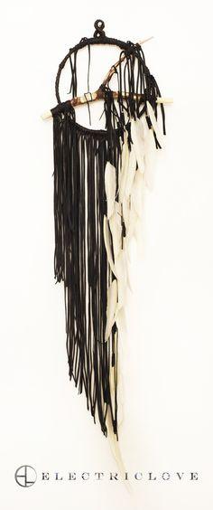 "Dream Catcher  Pacha Series  Stone Smoke Black w/White Feathers  Small 9"" Ring  Custom Order"