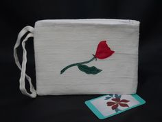 Small white wristlet clutch bag with appliqued rose, Valentine gift Occasion Bags, Single Rose, Romantic Evening, Creamy White, Valentine Gifts, Clutch Bag, Special Occasion, Upcycle, Purses