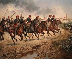 Lanceros del Ejército de Cabrera a la carga en Castellón (Augusto Ferrer-Dalmau) Army History, Seven Years' War, Cowboy Art, Historical Art, Military Art, Victorian Era, Wwii, Art Prints, Painting