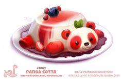 Daily Paint Panda Cotta by Cryptid-Creations Cute Food Drawings, Cute Animal Drawings, Kawaii Drawings, Cool Drawings, Kawaii Doodles, Kawaii Art, Anime Animals, Cute Animals, Animal Puns