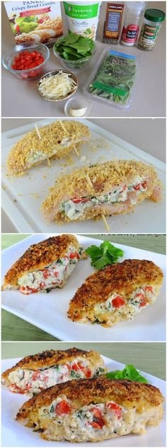 I'd sub out the ricotta, but yum! Panko Crusted Chicken Stuffed with Ricotta, Spinach, Tomatoes, and Basil I Love Food, Good Food, Yummy Food, Food Dishes, Main Dishes, Healthy Dishes, Healthy Food, Food To Make, Cooking Recipes