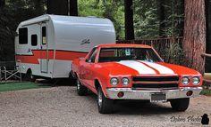 1970 Chevrolet El Camino and Shasta trailer