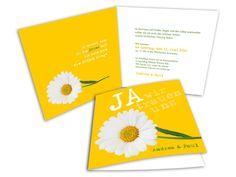 Eine sensationelle Hochzeitseinladung für Ihr Fest mit allem drum und dran! Für Paare, die sich eine moderne Hochzeit wünschen. Das strahlende Gelb und die Blume der Hochzeitskarten verleiht einen sehr frischen und fröhlichen Look.