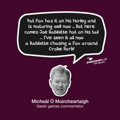 """""""Pat Fox has it on his hurley and is motoring well now … But here comes Joe Rabbitte hot on his tail … I've seen it all now a Rabbitte chasing a Fox around Croke Park!"""" – Micheál Ó Muircheartaigh (Gaelic games commentator) Croke Park, Irish Culture, All Seeing, Sport Inspiration, Hurley, Funny Things, Insight, Ireland, Fitness Motivation"""