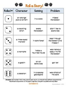 {October} Roll-a-Story Writing Activity - MsJordanReads - TeachersPayTeachers.com