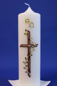 Church Candles, Diy Candles, Première Communion, Christian Devotions, Idee Diy, Candle Making, Candle Sconces, Christening, Decoupage