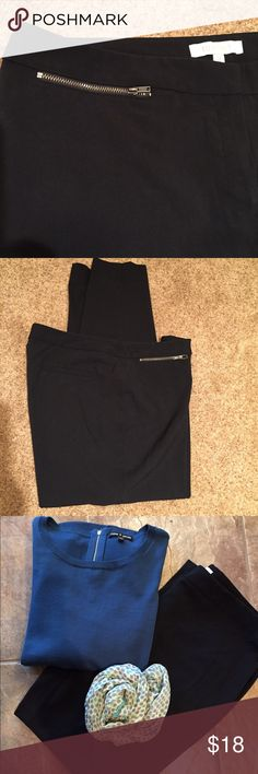 """Ellen Tracy Black Slacks Black slacks are a work wardrobe staple. These are 63% Polyester, 33% Rayon, and 4% Spandex for easy wash and wear. One small front pocket to hold keys or 💄.  Inseam is 28"""", front hip area is 20 1/2"""" wide. Hem width is 7 1/2"""". Ellen Tracy Pants Trousers"""