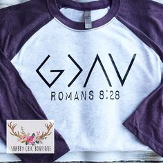 This custom shirt is perfect for anyone - men or women! G>^v God is greater… Jesus Shirts, Christian Clothing, Christian Shirts, Vinyl Shirts, Custom Shirts, Branded Shirts, Shabby Chic Boutique, Cute Tshirts, Personalized T Shirts