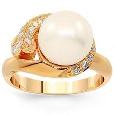 Rose Gold Womens Pearl & Diamond Engagement Ring - Unusual Engagement Rings Review