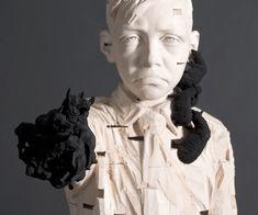 Gehard Demetz - Contemporary Artist - Wood Sculpture - 2010 - Sieben Schafe, Zehn Hunde.