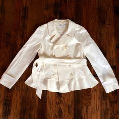 Feminine White Jacket by NY&C  This stunning white jacket feels like a trench coat, has a stylish peplum finish, and ties beautifully at the waist, giving you a very feminine figure. I am in love with this jacket but I have yet to wear it so it's time to give to someone who will actually get use out of it! NWT and perfect for your spring wardrobe!  New York & Company Jackets & Coats Trench Coats