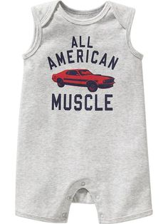 Muscle-Car Sleeveless One-Pieces for Baby