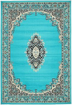 A2Z Rug Traditional Turquoise 4' x 6' Mashad Collection Area rug $39