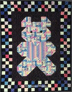 Patches Baby Quilt Pattern. Exclusively from Victoriana Quilt Designs here: http://www.victorianaquiltdesigns.com/VictorianaQuilters/PatternPage/Patches/Patches.htm #quilting #teddybear