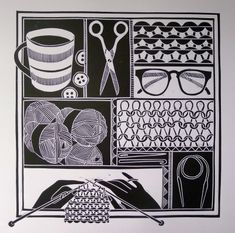 Work by Jan Brewerton titled 'Knitting'