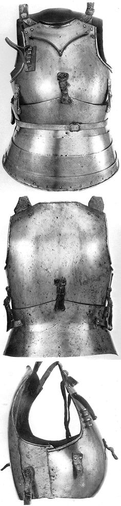 European breastplate, backplate and faulds, Ruestkammer Schloss Churburg, ref 3607. Date: 1410. Material: iron, steel (0%, 0.1%, 0.6% C) . Hardness: 24 HRC. Heat-Treatment: quenching. Weight: 7.3 Kg.