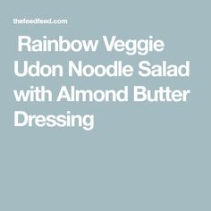  Rainbow Veggie Udon Noodle Salad with Almond Butter Dressing