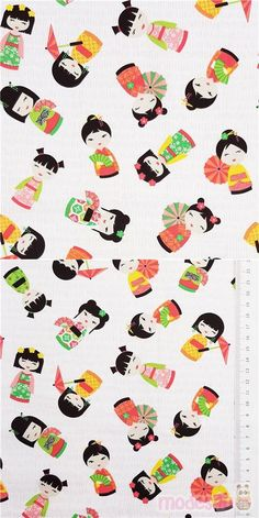 "white fabric with tossed kokeshi dolls in yellow, coral, lime green, orange, with light pink dashes in the background, Material: 100% cotton, Fabric Width: 112cm (44"") #Cotton #People #USAFabrics Timeless Treasures Fabric, Coral, Kawaii, Modes4u, Kokeshi Dolls, Japanese Fabric, White Fabrics, Lime, Orange"