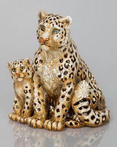 Mother & Baby Snow Leopards Figurine, Multi Colors - Jay Strongwater