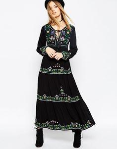 ASOS PREMIUM Embroidered Tassel Maxi Dress