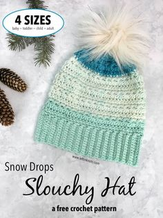 Crochet Snow Drops Slouchy Hat in 4 Sizes - Free Crochet Pattern — Left in Knots Slouch Hat Crochet Pattern, One Skein Crochet, Crochet Car, Crochet Mittens, Crochet Slippers, Crochet Beanie, Crochet Blanket Patterns, Free Crochet, Crochet Bunny