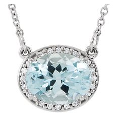 Please Take Moment To Visit Our Store!    MSRP: $1799.99  Our Price: $1299.99  Savings: $500.00    Item Number: 650738AQ    Availability: Made To Order. Usually Ships in 10-12 Business Days    PRODUCT DESCRIPTION:   Brilliant Diamonds surround a Genuine Aquamarine in this beautiful pendant for her. Expertly crafted, this pendant is available in 14k White or Yellow Gold.    FEATURES:    • Available in 14k White or Yellow Gold  • 9x7mm Oval Genuine Aquamarine  • Diamond Halo…