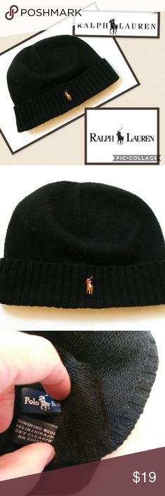 6d9ba8e27e5 Polo Ralph Lauren Beanie Winter Hat Merino Wool Polo Ralph Lauren Beanie Winter  Hat Merino Wool Black Polo by Ralph Lauren Accessories Hats