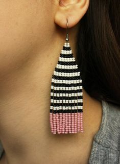 Striped white black pink earrings Long seed bead earrings