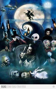 You could just fill a poster with the many and varied faces of Johnny Depp, but I like this too Tim burton