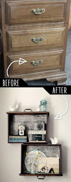 DIY Furniture Hacks    DIY Drawer Shelves    Cool Ideas for Creative Do It Yourself Furniture   Cheap Home Decor Ideas for Bedroom, Bathroom, Living Room, Kitchen - http://diyjoy.com/diy-furniture-hacks