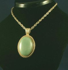 24 inch Gold Plated triple Chain with 30x20 mm Jade Serpentine Cabochon The perfect Christmas Gifts & low ship http://stores.shop.ebay.com/JACYS-ORIGINALS-Jewelry