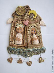 "Панно"" Домик в облаках"" - керамика ручной работы,ангелы,облака,домики Clay Art Projects, Polymer Clay Projects, Clay Crafts, Ceramic Decor, Ceramic Clay, Polymer Journal, Antique Wall Decor, Pottery Angels, Biscuit"