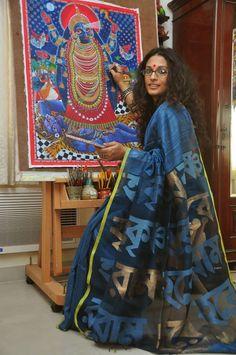 The Hare Krishno Indigo / Neel Namabali saree from ByLoom Byloom Sarees, Indian Sarees, Saris, Indian Dresses, Indian Outfits, Indian Clothes, Formal Saree, Stylish Sarees, Indian Fabric
