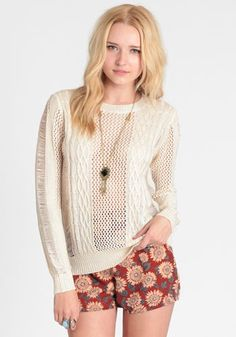 Call Back Open Knit Sweater from ThreadSence - I would get this for fall and winter; you could play with different color long-sleeve tees or turtlenecks to create a super layer look.