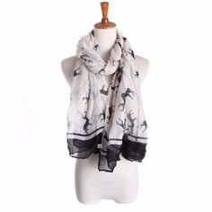 Women Ladies Elk Pattern Print Long Scarf Warm Wrap Shawl