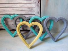Set of 5 Painted Vintage Heart Frames Aqua by WillowsEndCottage