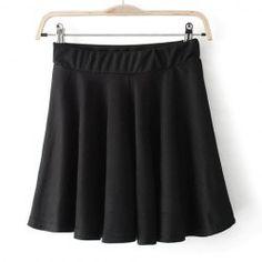 Vintage Solid Color Stretchy Women's Pleated Skirt (BLACK,M) | Vintage Skirts