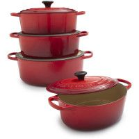 Le Creuset® Cherry Oval French Ovens - the oval shape is great for roasts or chicken and it looks really cool too!  :)