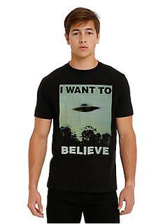 "<p>Black T-shirt from <i>The X-Files</i> with an ""I Want To Believe"" UFO image just like the poster in Mulder's office!</p>  <ul> <li>100% cotton</li> <li>Wash cold; dry low</li> <li>Imported</li> <li>Listed in men's sizes</li> </ul>"