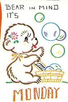 Vogart 232 Adorable Bears for Days of the Week Tea Towels. A 1940s Hand Embroidery pattern.