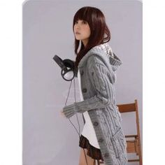 $10.18 Flax Patterns Acrylic Hooded Cardigan For Women