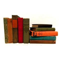 Antique Adventure-Themed Novels - Set of 10 (£37) ❤ liked on Polyvore featuring art books