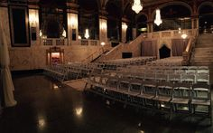 Panoramic of the Grand Foyer set for a wedding ceremony