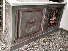 A lady with a special taste and love for heavily distressed furniture asked me to paint two of her kitchen cabinets I used Annie Sloan chalk paint and image medium,moulds of Iron Orchid Designs , image transfer of a painting of John William Waterhouse and decoupage paper-choice of the owner. Irida Kyriakopoulou  #anniesloan #ironorchiddesigns #chalkpaint #paintedfurniture #kitchencabinets #Waterhouse #imagetransfer Distressed Furniture, Painted Furniture, Furniture Design, Annie Sloan Chalk Paint Furniture, Gilding Wax, John William Waterhouse, Iron Orchid Designs, Water House, Decoupage Paper