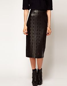 ASOS Cutwork Pencil Skirt. The overlay is faux leather and totally badass.