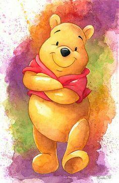 Winnie Pooh , a wonderful cartoon character Winne The Pooh, Winnie The Pooh Quotes, Disney Winnie The Pooh, Winnie The Pooh Drawing, Eeyore, Tigger, Disney Mignon, Disney Fine Art, Pinturas Disney